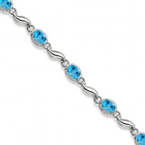 Bezel-Set Oval Blue Topaz Bracelet in 14K White Gold (7x5 mm)