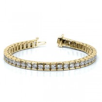Ladies Channel Set Round Diamond Tennis Bracelet 14k Y. Gold 6.00ct