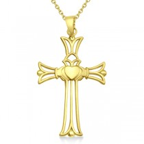 Claddagh Celtic Cross Pendant Necklace in 14k Yellow Gold