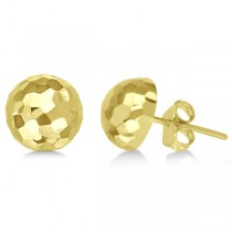 Half Disco Ball Hammered Stud Earrings 14k Yellow Gold