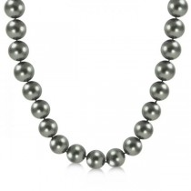 Black Tahitian Pearl Strand Necklace 14K White Gold AAA 9-11.5mm
