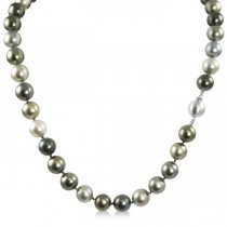 Tahitian Multicolor Pearl Strand Necklace 14K White Gold 8-10.55mm