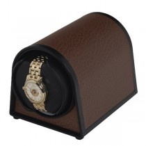 Orbita Dome Shaped Single Watch Winder in Brown Faux Leather