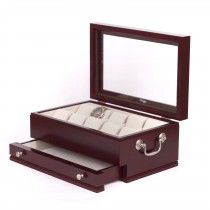 Ten Watch Mahogany storage Chest w/ a Jeweler's Drawer & Glass top