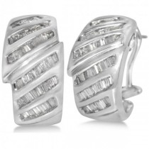 Diamond Accented Baguette Huggie Earrings in 14k White Gold (1.25ct)