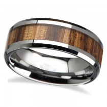 Beveled Edges and Real Zebra Wood Inlay Tungsten Wedding Band (6mm)