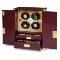 Rapport London Mariner's Chest & Quad Watch Winder in Mahogany Wood
