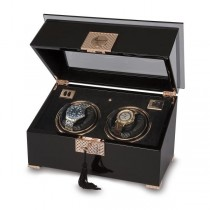 Rapport London Black Wood and Rose Gold Dual Watch Winder
