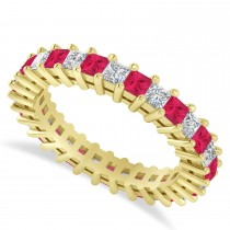 Princess Cut Diamond and Ruby Eternity Wedding Band 14k Yellow Gold (2.32ct)