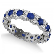 Garland Blue Sapphire & Diamond Eternity Band Ring 14k White Gold (1.69ct)