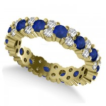 Garland Blue Sapphire & Diamond Eternity Band Ring 14k Yellow Gold (1.69ct)