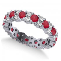 Garland Ruby & Diamond Eternity Band Ring 14k White Gold (1.69ct)