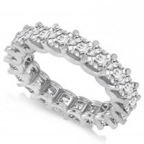 Asscher-Cut Diamond Eternity Wedding Band Ring 14k White Gold (5.00ct)