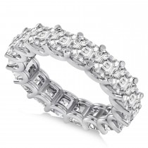 Asscher-Cut Diamond Eternity Wedding Band Ring 14k White Gold (7.20ct)