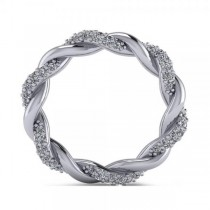 Diamond Twisted Eternity Wedding Band in 14k White Gold (1.08ct)