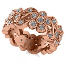 Diamond Floral Anniversary Ring Band 14k Rose Gold (1.23ct)