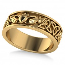 Claddagh & Celtic Knot Eternity Wedding Band 14k Yellow Gold