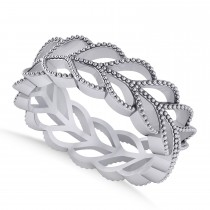 Leaf Wedding Ring Band 14k White Gold