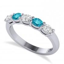 Oval Blue & White Diamond Five Stone Ring 14k White Gold (1.00ct)