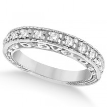 Designer Infinity Carved Diamond Ring w/ Scrollwork in 18K W. Gold (0.21ct)