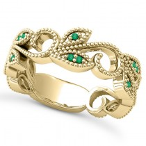 Emerald Vine Leaf Ring w/ Milgrain 14k Yellow Gold (0.07ct)