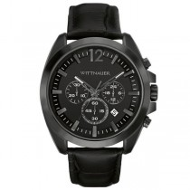 Men's Wittnauer Quartz Watch Chronograph Black Dial with Leather Strap
