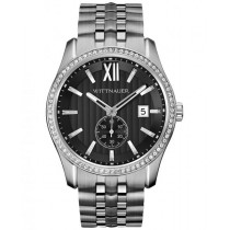 Men's Wittnauer Watch Gunmetal Dial Stainless Steel Quartz w/ Crystals