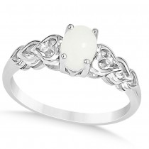Diamond Accented Opal Heart Fashion Ring 14k White Gold (0.50ct)