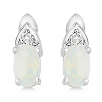 Diamond Accented Opal Drop Earrings 14k White Gold (0.37ct)