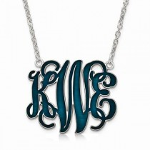 Enamel Monogram Initial Pendant Necklace in Sterling Silver