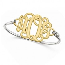 Three Initial Monogram Bangle Bracelet Gold over Sterling Silver