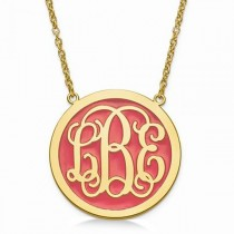 Solid Enamel Monogram Initial Circle Pendant Gold over Sterling Silver