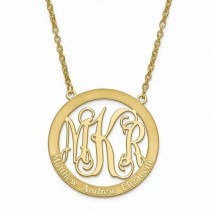 Family Names & Initial Monogram Pendant Necklace 14k Yellow Gold