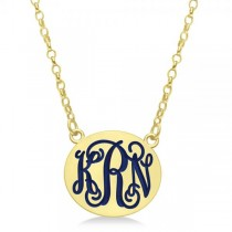 Enameled Monogram Initial Petite Plate Pendant Gold on Sterling Silver