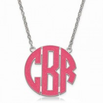 Enameled Circular Monogram Initial Pendant Necklace in Sterling Silver