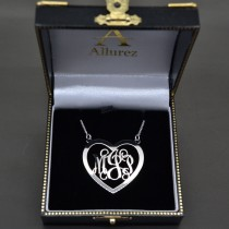 Heart Monogram Initial Pendant Necklace in 14k White Gold