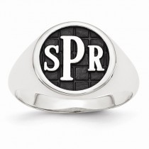 Monogram Initial Signet Fashion Ring in Sterling Silver