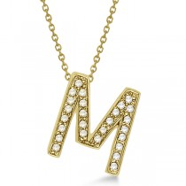"""Custom Tilted Diamond Block Letter """"M"""" Initial Necklace in 14k Yellow Gold"""