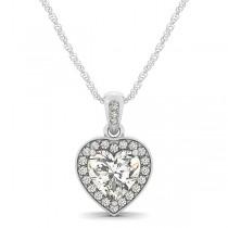 Heart Shaped Diamond Pendant Halo Necklace 14k White Gold (0.85ct)