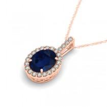 Blue Sapphire & Diamond Halo Oval Pendant Necklace 14k Rose Gold (3.37ct)