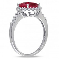 Oval Ruby & Halo Diamond Engagement Ring 14k White Gold 3.57ct