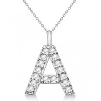 Customized Block-Letter Pave Diamond Initial Pendant in 14k White Gold N