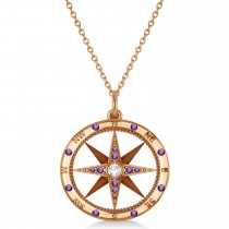 Compass Pendant Amethyst & Diamond Accented 14k Rose Gold (0.19ct)