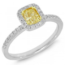 0.74ct 14k Two-tone Gold Cushion Cut Natural Fancy Yellow Diamond Ring
