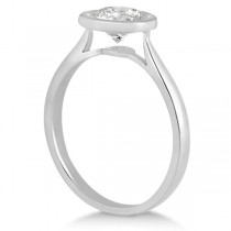 Floating Bezel Set Solitaire Engagement Ring Setting 14K White Gold (0.50ct)