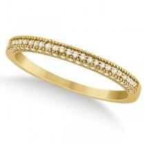 Micro Pave Milgrain Edge Diamond Wedding Ring 14k Yellow Gold (0.18ct)