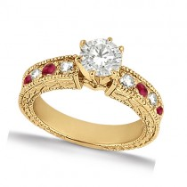 Antique Diamond & Ruby Engagement Ring 18k Yellow Gold (1.00ct) Size 7