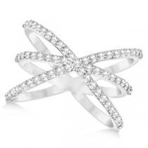 Diamond X Shaped Ring with 3 Orbital Bands 14k White Gold 0.65ct Size 7