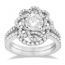 Diamond Flower Engagement Ring and Wedding Band 18k White Gold (0.84ct)